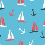 传染媒介例证游艇和被设置的船锚剪影 免版税库存照片