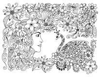 传染媒介例证禅宗缠结女孩和天鹅公主花的 Dudling 成人的彩图反重音 黑色白色 免版税库存图片
