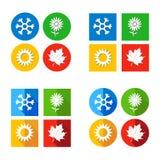 传染媒介例证设置了四个季节标志天气 免版税库存图片