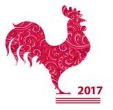 传染媒介例证雄鸡,中国日历 红色公鸡剪影,装饰用花卉样式 库存图片