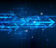 传染媒介例证高科技蓝色抽象技术背景 免版税库存照片