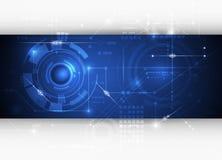 传染媒介例证高科技蓝色抽象技术背景 免版税库存图片