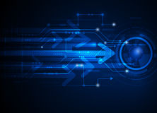 传染媒介例证高科技蓝色抽象技术背景 库存照片