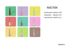 传染媒介例证,平的设计 一次用量的针剂象集合,医疗一次用量的针剂象, 库存图片