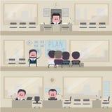 传染媒介例证,描述工作办公室 免版税库存照片