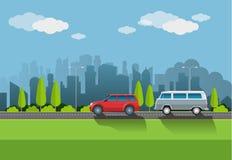 传染媒介例证,都市大气 免版税库存图片