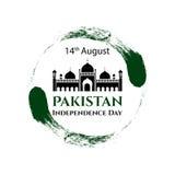 传染媒介例证巴基斯坦美国独立日 在时髦葡萄酒样式的巴基斯坦旗子 8月14日海报的,横幅设计模板 免版税库存图片