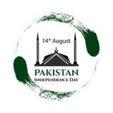 传染媒介例证巴基斯坦美国独立日 在时髦葡萄酒样式的巴基斯坦旗子 8月14日海报的,横幅设计模板 免版税图库摄影