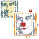 传染媒介例证-小丑和说笑话者面孔 库存照片