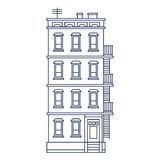 传染媒介例证-排行拉长的老大厦与 免版税库存照片