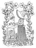 传染媒介例证zentangl供以座位花围拢的凳子的女孩容忍小猫  乱画图画 冥想的锻炼 免版税库存照片