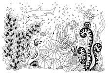 传染媒介例证zentangle水下的世界 免版税图库摄影