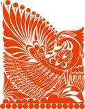 传染媒介俄国人装饰品 与鸟的民间传说装饰品 免版税库存照片