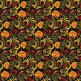 传染媒介俄国种族装饰品 在全国样式的Khokhloma无缝的样式 免版税库存照片
