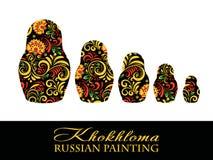 传染媒介俄国种族matrioshka Khokhloma绘画,在全国样式的对象 免版税库存图片