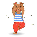 传染媒介信奉瑜伽者熊 向量例证