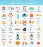 传染媒介健身和健康平的象集合 典雅式样设计 免版税图库摄影