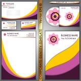 传染媒介公司品牌黄色和紫色模板 免版税图库摄影