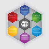 传染媒介六角形五颜六色的正文框 库存图片