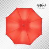 传染媒介经典redround雨伞顶视图 透明的背景 图库摄影