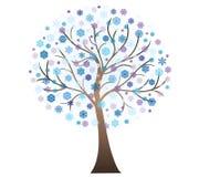 传染媒介冬天艺术树 免版税库存照片