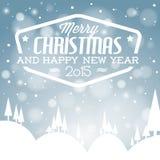 传染媒介减速火箭的多雪的圣诞卡 免版税库存图片