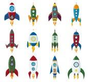 传染媒介减速火箭的太空火箭船象在一个平的样式设置了 背景的设计元素与项目开始和 库存照片