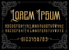 传染媒介减速火箭的字母表 葡萄酒字体 标签、标题,海报的等印刷术 免版税库存图片