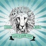 传染媒介减速火箭的狮子头设计例证 免版税库存图片
