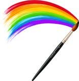 传染媒介刷子绘画彩虹 免版税库存照片