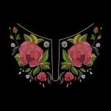 传染媒介刺绣时尚的领口设计 花和叶子脖子印刷品 胸口被绣的点缀 库存例证