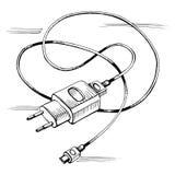 传染媒介剪影充电器usb设备缆绳 免版税库存图片