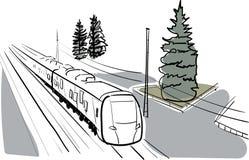 传染媒介剪影和水彩火车 图库摄影
