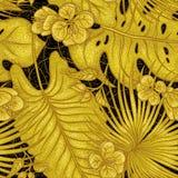 传染媒介剪影金黄纹理植物的无缝的样式 热带植物,在黑backgr的异乎寻常的花蕾金发光的叶子  库存照片