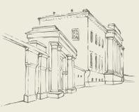 传染媒介剪影 与柱廊的巨型的大厦 免版税库存图片