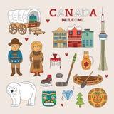 传染媒介加拿大旅行和旅游业的乱画艺术 免版税图库摄影