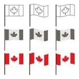 传染媒介加拿大旗子象集合 免版税库存照片