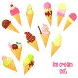 传染媒介动画片冰淇凌集合 免版税图库摄影