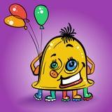 传染媒介动画片微笑的黄色妖怪 免版税库存图片