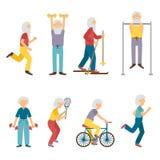 传染媒介动画片老人活动 向量例证