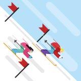 传染媒介动画片滑雪者 库存图片