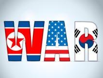 北朝鲜、美国和南韩战争 库存图片