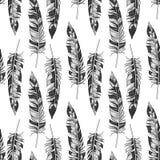 传染媒介单色羽毛样式 库存例证