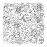 传染媒介单色花卉样式 手拉的花乱画纹理的模仿 库存照片