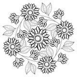 传染媒介单色花卉背景 库存图片