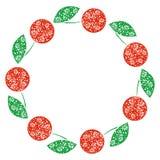 传染媒介卡片用莓果 空的圆的形式用装饰樱桃 装饰框架 卡片、空白和形式系列  库存例证