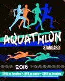 传染媒介印刷品例证aquathlon -标准距离 免版税库存照片