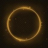 传染媒介发光的不可思议的圈子框架 发光的霓虹火圆环波浪 闪烁闪闪发光漩涡对黑暗的透明背景的足迹作用 库存例证