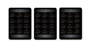 传染媒介口袋日历集合 2018年, 2019年和2020年 与广告地方的黑设计模板 图库摄影