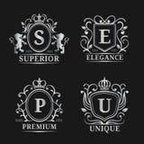 传染媒介组合图案商标模板 豪华书信设计 与冠和狮子例证的优美的葡萄酒字符 库存例证